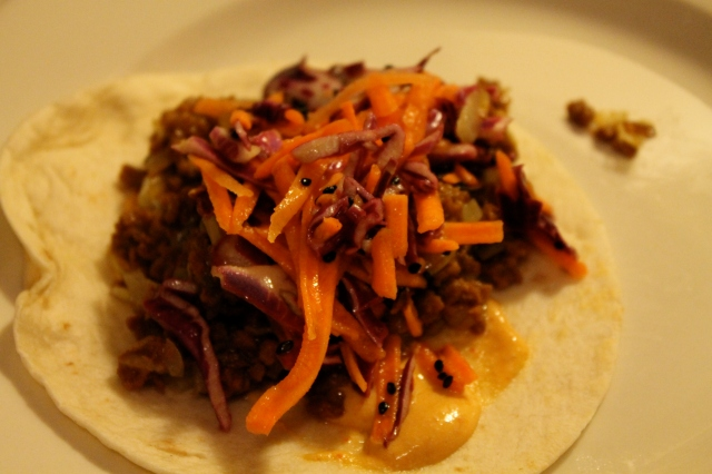Tacos with Spicy Sauce and Cabbage Slaw